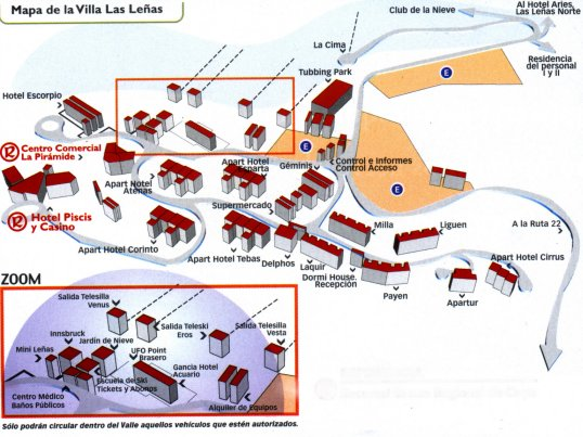 LAS LE�AS (LAS LENAS) SKI RESORT - Mapa Villa Las Le�as